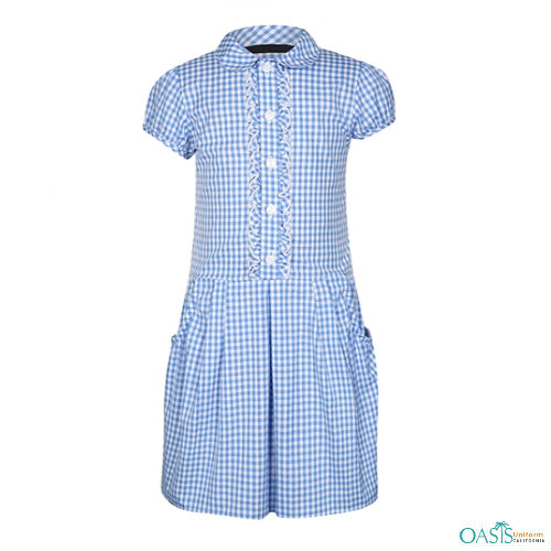 Cottage Weave Blue School Dress Manufacturer