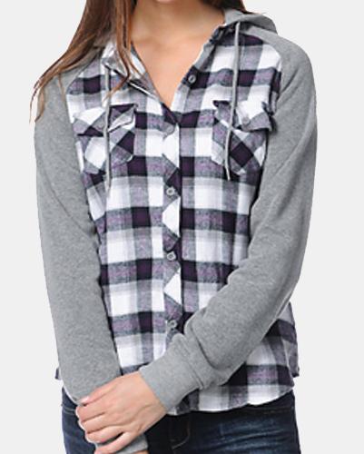 wholesale blending black hooded cool flannel shirts manufacturer